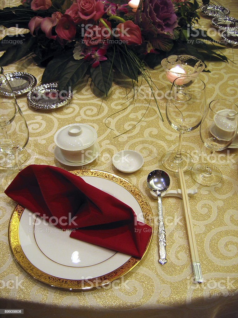 Wedding banquet table setting royalty-free stock photo