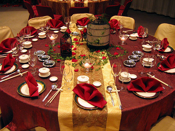 Wedding banquet table setting  chinese wedding dinner stock pictures, royalty-free photos & images