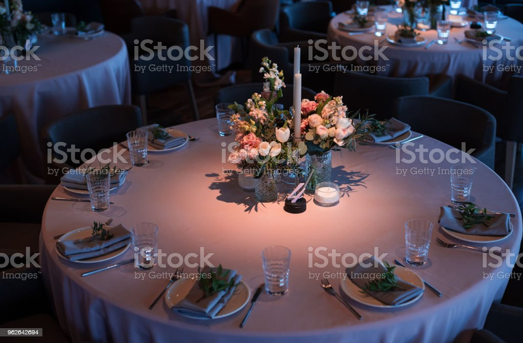 Wedding Banquet The Chairs And Round Table For Guests Stock Photo