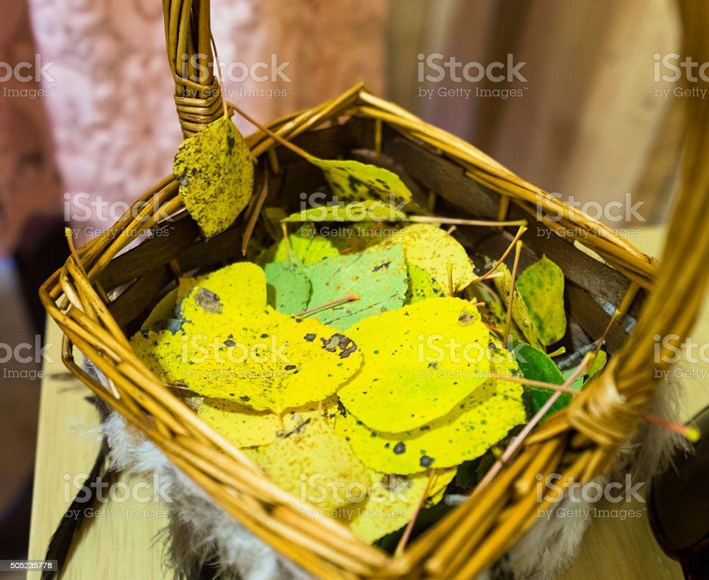 Wedding Basket with Aspen Leaves stock photo