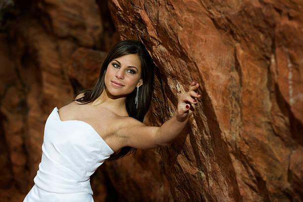 hochzeit-schöne braut in der wüste (xl - hochzeitskleid xl stock-fotos und bilder