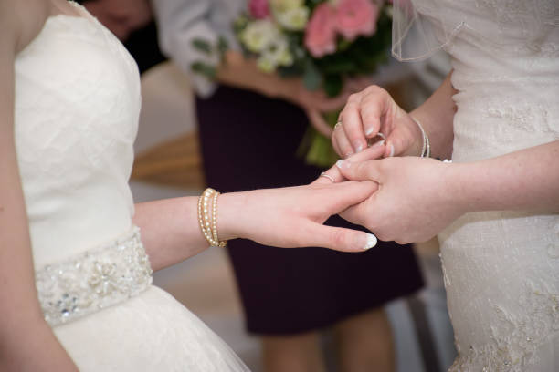 Wedding beautiful lesbian couple stock photo