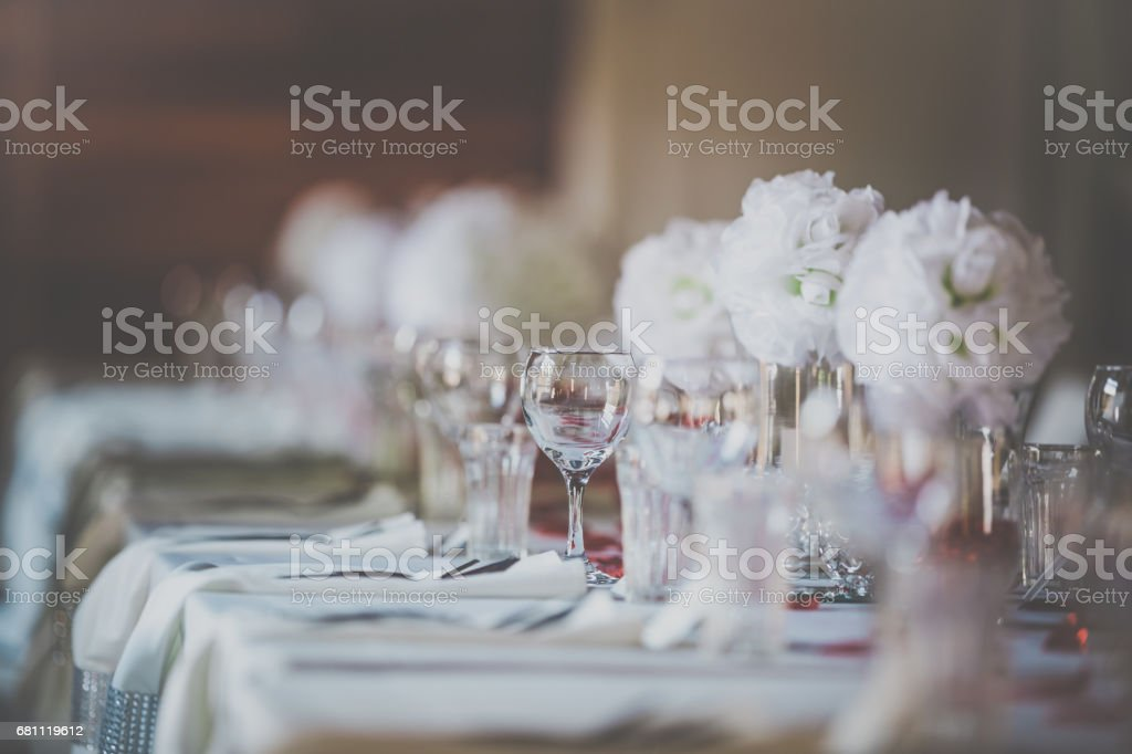 Wedding Birthday Reception Decoration, Chairs, Tables and Flowers royalty-free stock photo