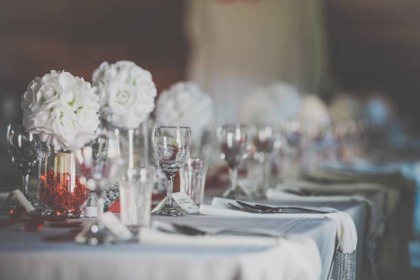 wedding birthday reception decoration, chairs, tables and flowers - sala balowa zdjęcia i obrazy z banku zdjęć