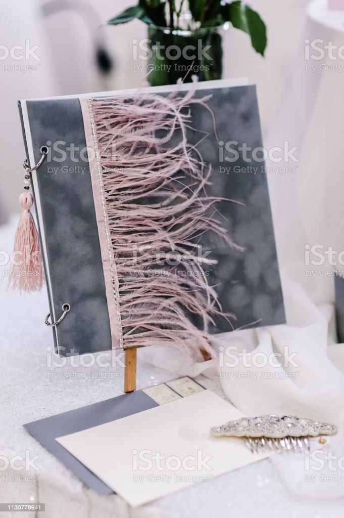 Wedding book for writing greeting and best wishes in wedding ceremony day of bride and groom in luxury style. stock photo