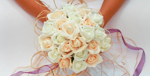 wedding bouquet, a womans hand stock photo