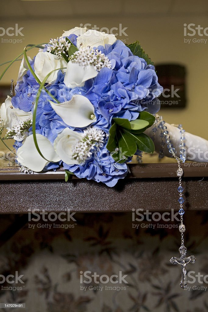 Wedding bouquet and cross royalty-free stock photo