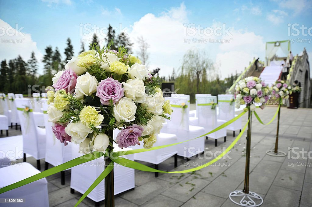 Wedding bouquet at an outdoor wedding royalty-free stock photo