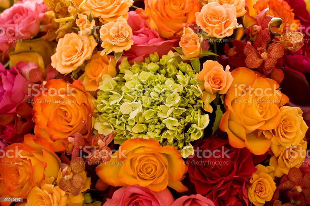 Wedding Bouquet Close Up in Peach and Pink royalty-free stock photo