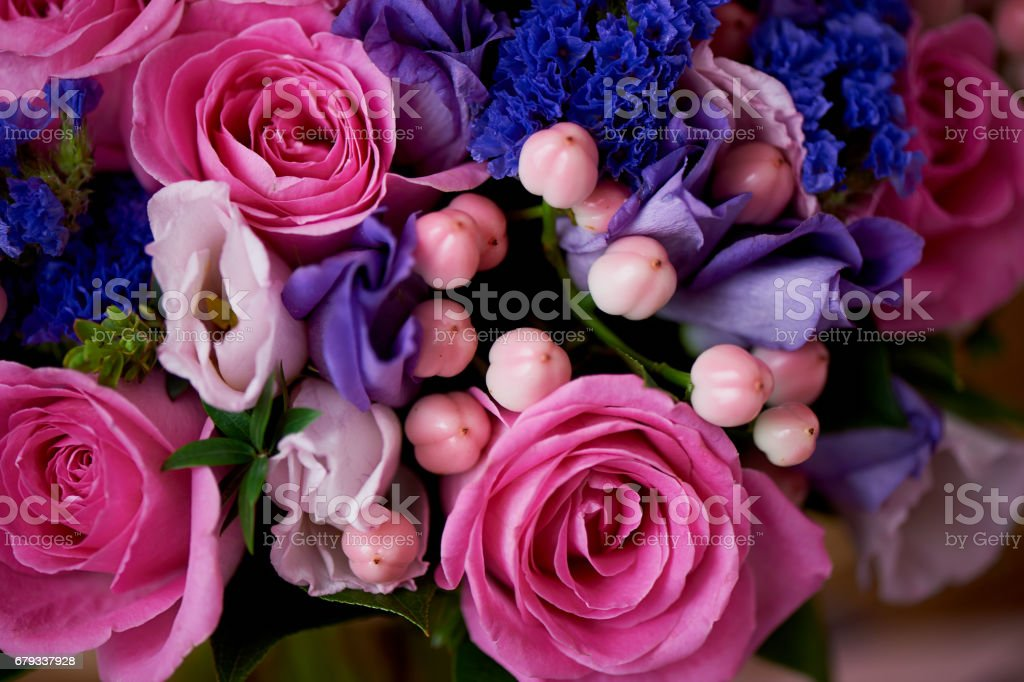 Wedding bouquet in pink and purple tones. Beautiful and delicate. Texture royalty-free stock photo