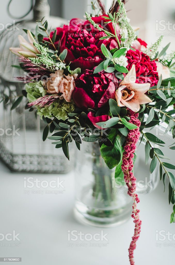 Wedding Bouquet Of Flowers Red Marsala Peonies In Vase Background