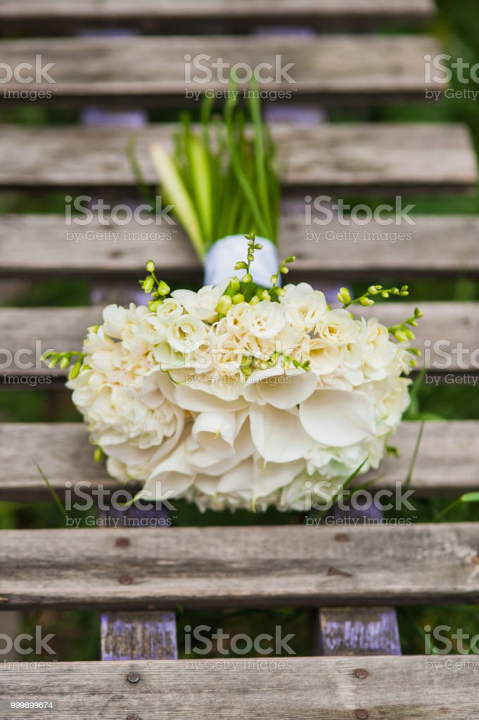 Wedding bouquet of lilies. stock photo