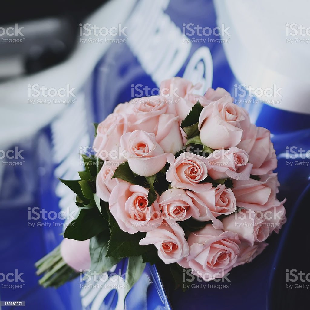 Wedding bouquet of pink roses. royalty-free stock photo