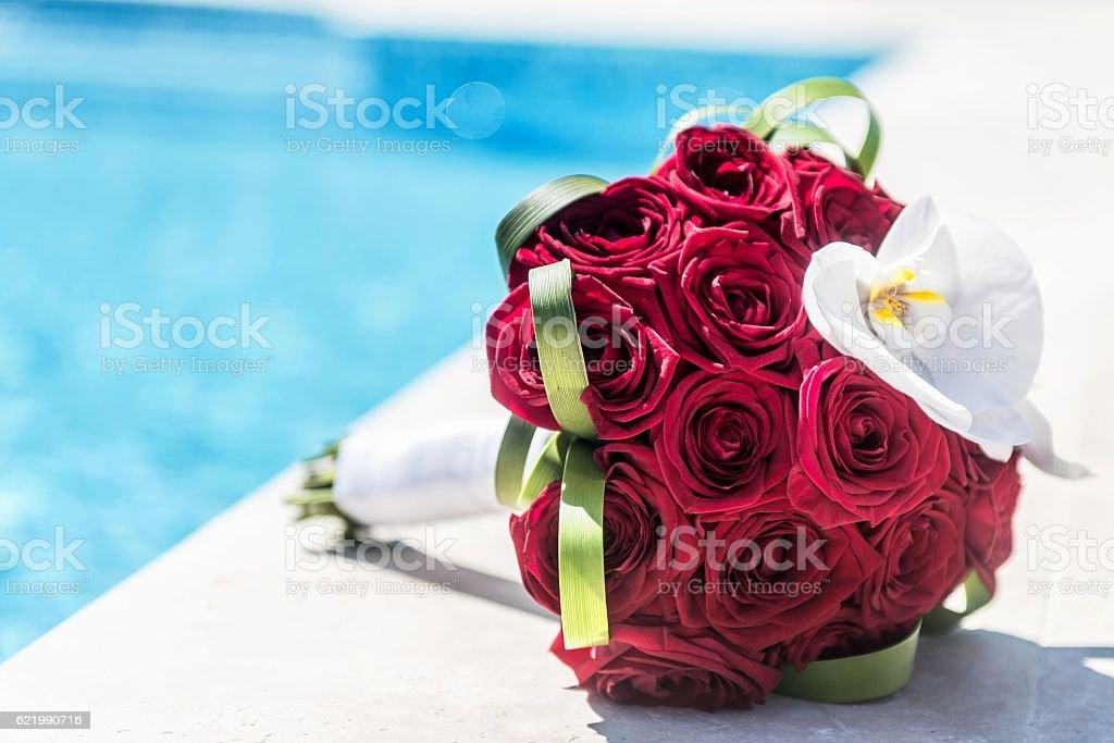 Casamento buquê de rosas vermelhas - foto de acervo
