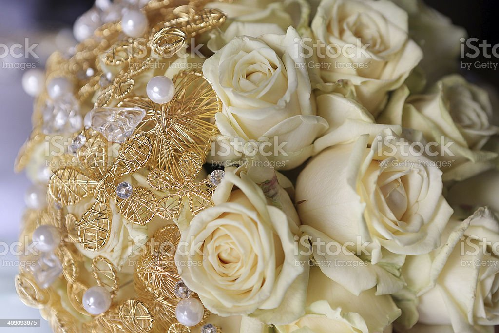 Wedding bouquet of yellow roses stock photo