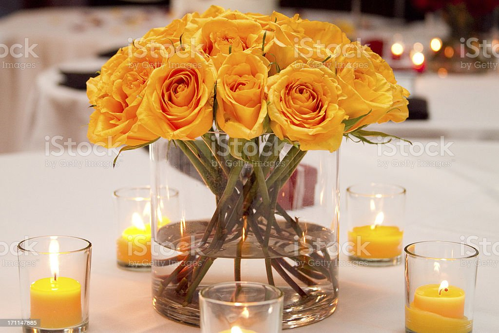 Wedding Bouquet On Table With Votive Candles Yellow Flowers Royalty Free Stock Photo