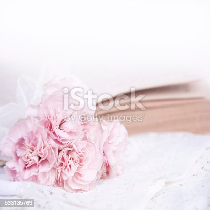 istock Wedding bouquet on the lace. 533135769