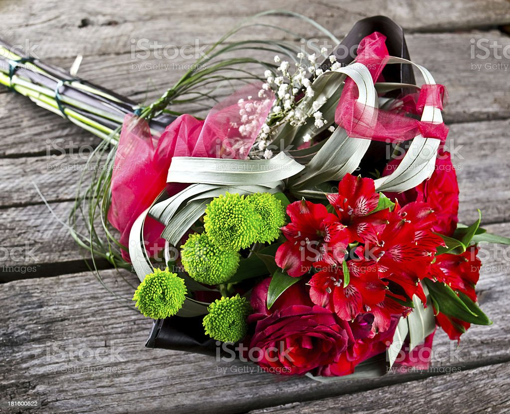 wedding bouquet on vintage old wood royalty-free stock photo