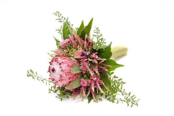 wedding bouquet protea - protea strauß stock-fotos und bilder