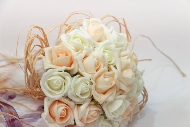 wedding bouquet white and pale pink roses stock photo