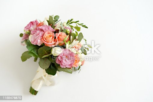 wedding bouquet with flowers roses on a white background with copy space. minimal concept. mockup