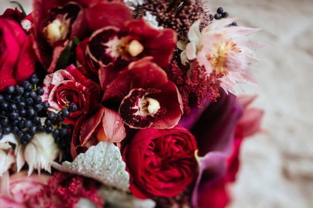 wedding bouquet with rose bush, stock photo