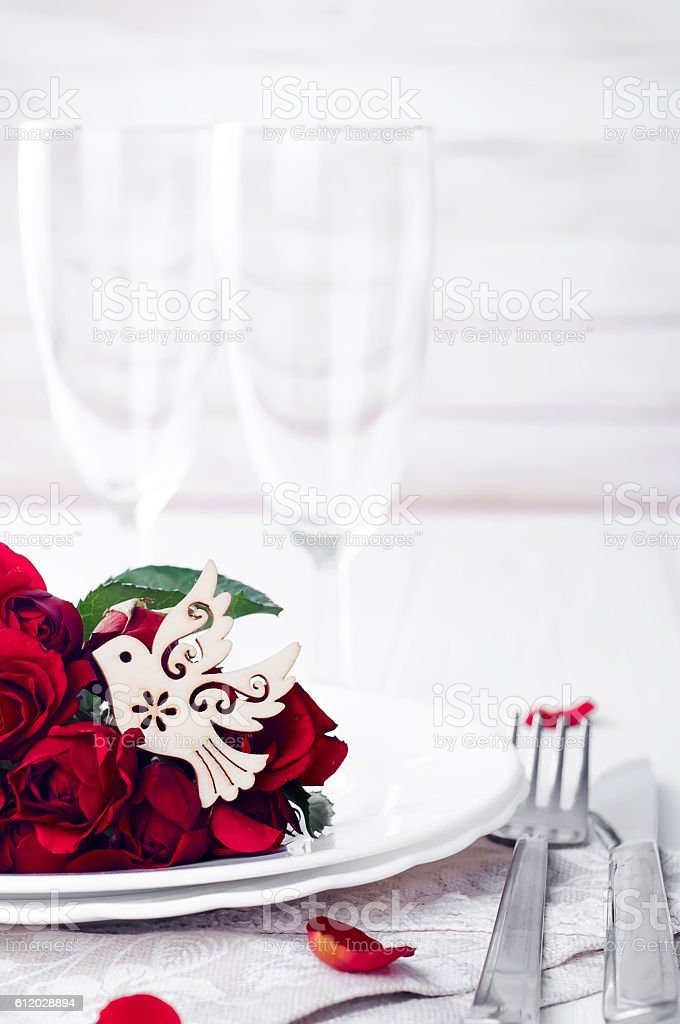 wedding breakfast dining table setting with dove stock photo