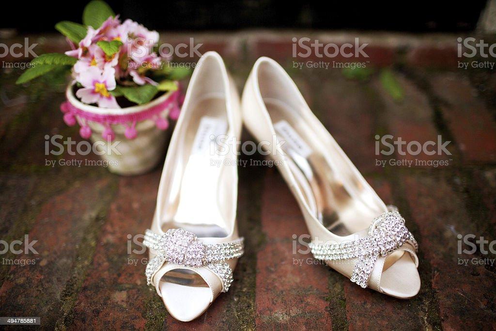 Wedding bridal shoes royalty-free stock photo