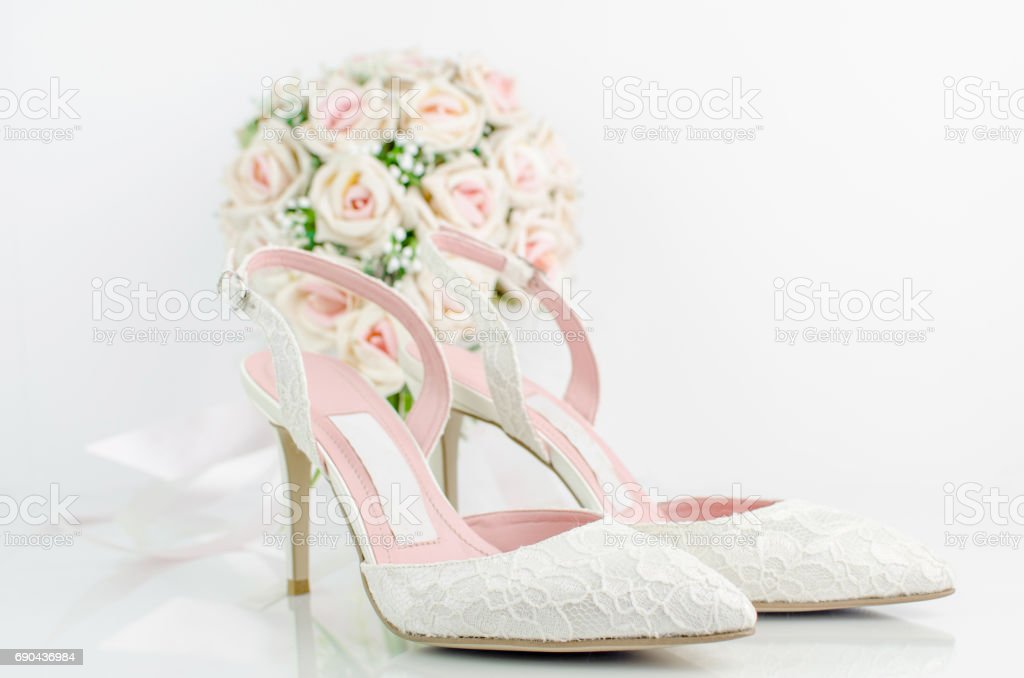 Wedding Bridal Shoes With Pink Roses Stock Photo Download Image
