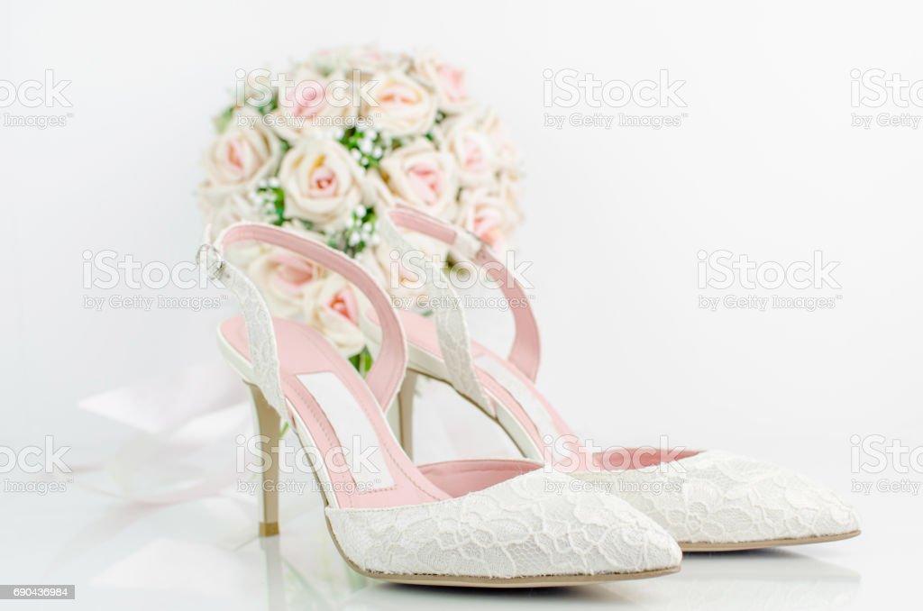Hochzeit Brautschuhe Mit Rosa Rosen Stock Fotografie Und Mehr Bilder