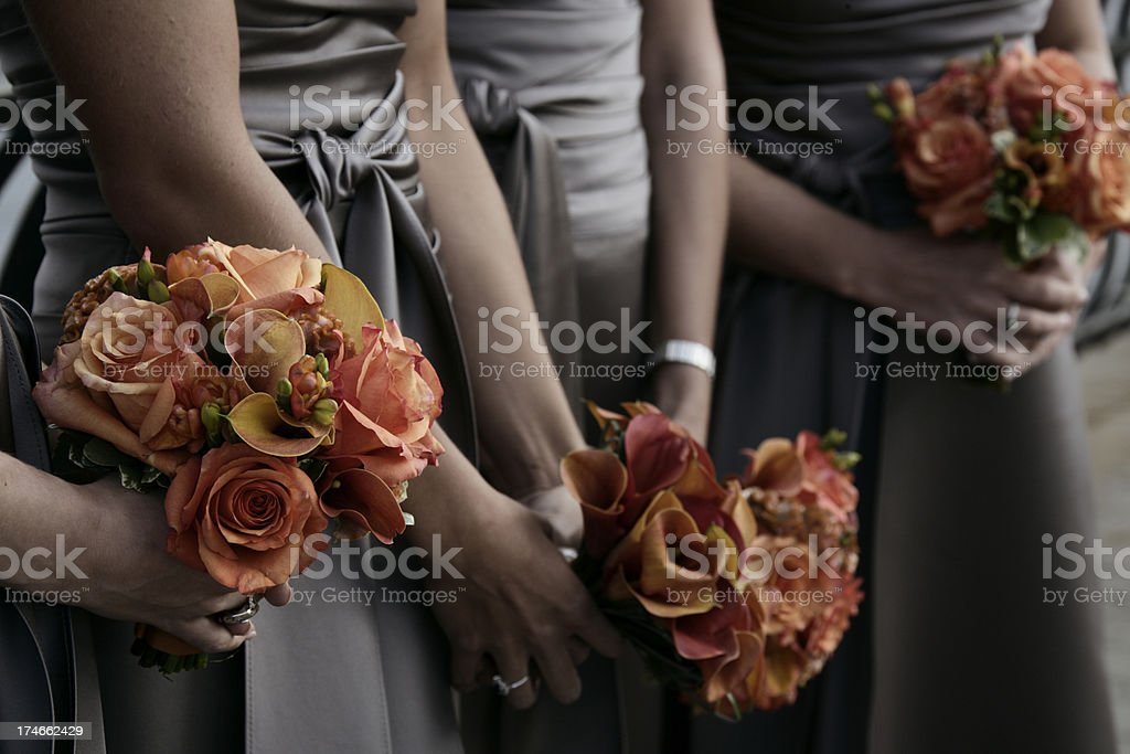 Wedding Bridesmaids with Flowers stock photo