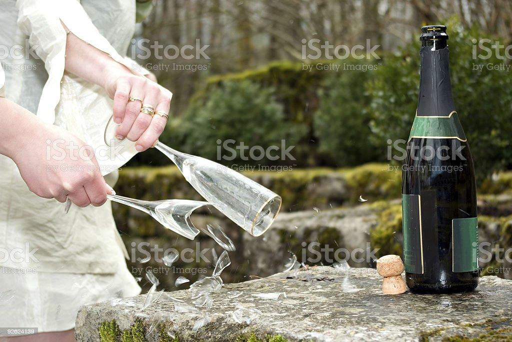 Wedding: broken glass royalty-free stock photo