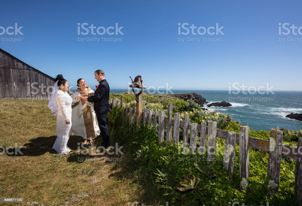 Wedding by ocean stock photo