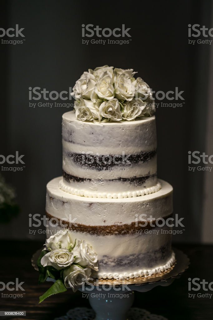 Wedding cake at reception stock photo