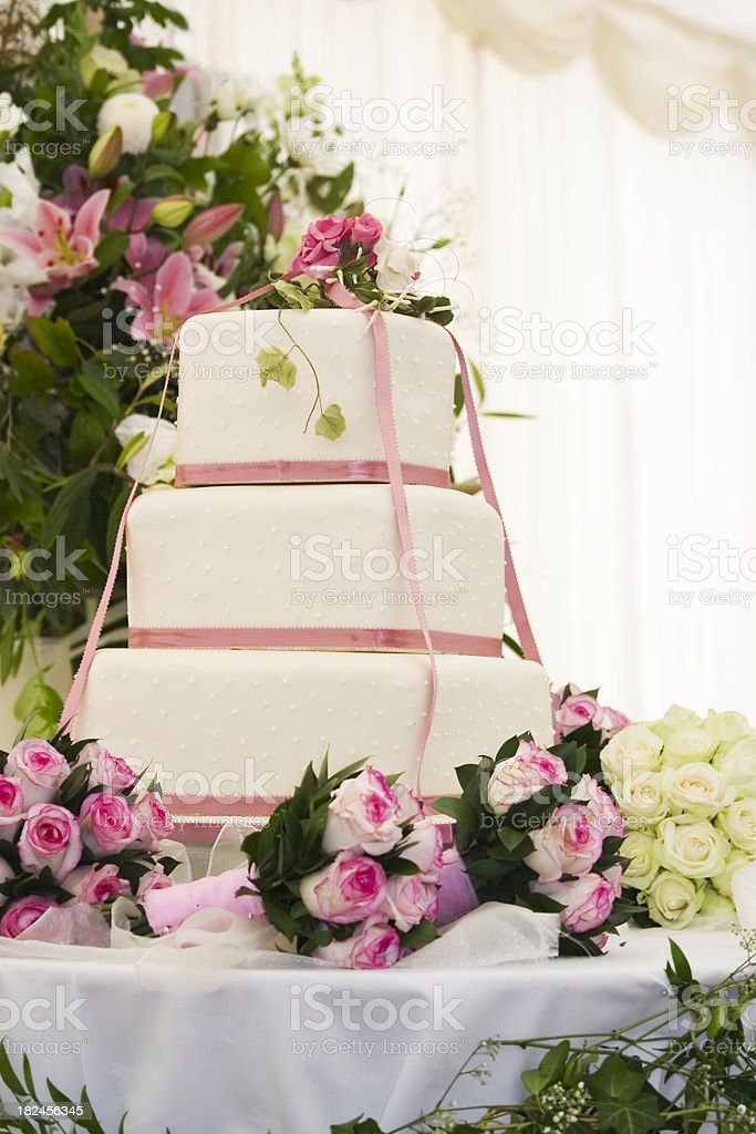 Wedding Cake & Bouquets royalty-free stock photo