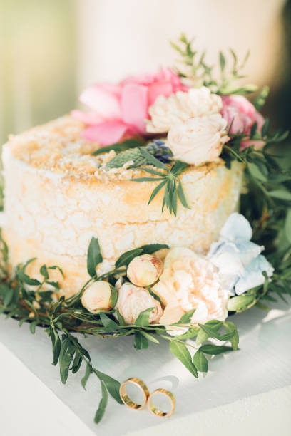 Wedding Cake Decorated With Fresh Flowers Stock Photo More