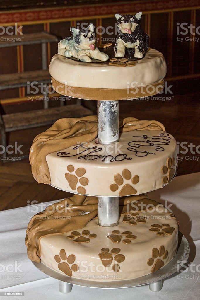 Wedding cake for dog lovers stock photo