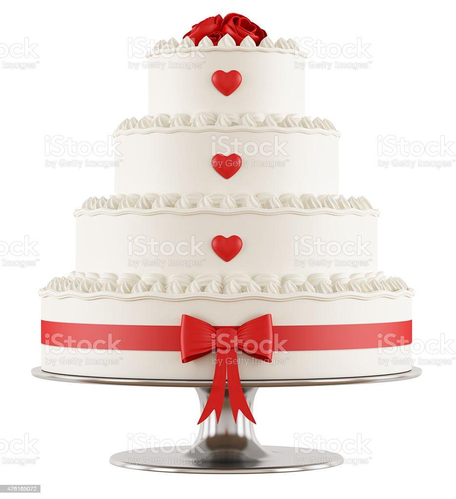 Wedding cake on white stock photo