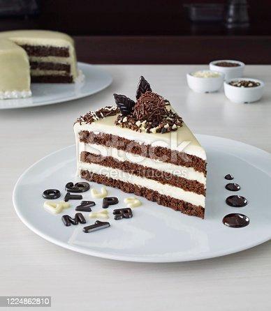 Wedding chocolate cake slice