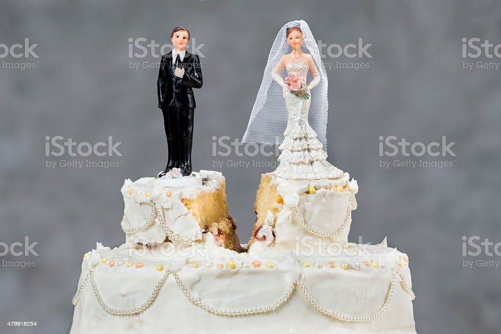 Wedding cake split stock photo