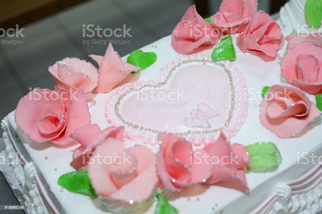 Beau Gâteau Mariage à Rose Roses Isolé Blanc Fond Banque Dimage