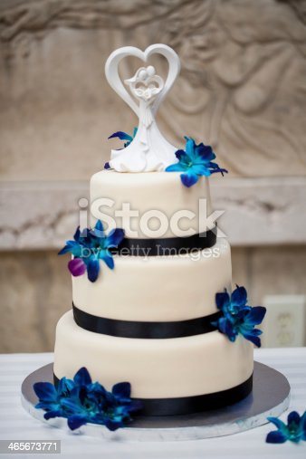 Wedding Cake With Blue Orchids Stock Photo