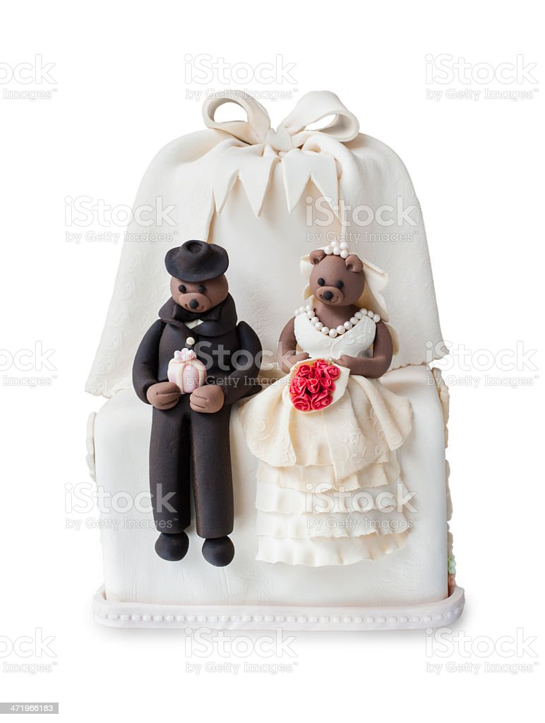 Wedding cake with doll stock photo