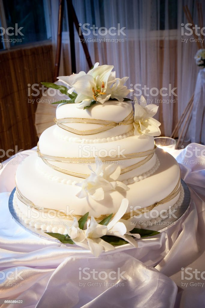 Wedding Cake With Flower And Ribbon Decoration Stock Photo More