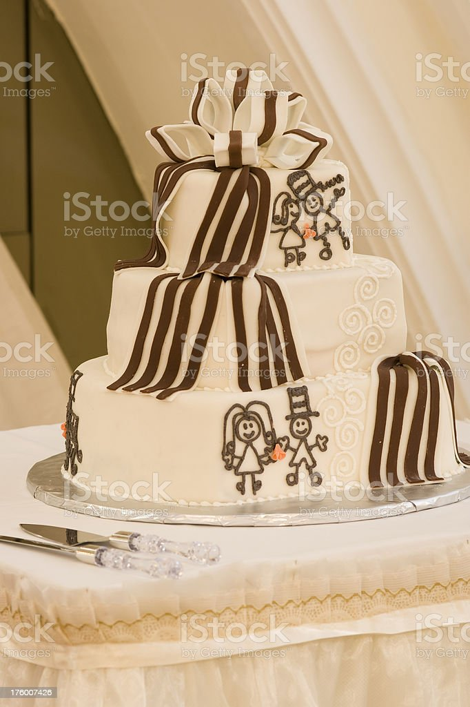 Wedding Cake with Funny Icing royalty-free stock photo