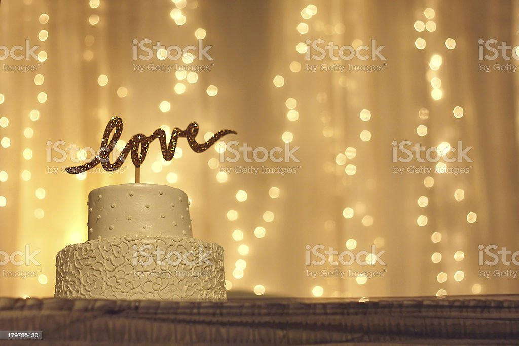 Wedding Cake with LOVE Topper stock photo