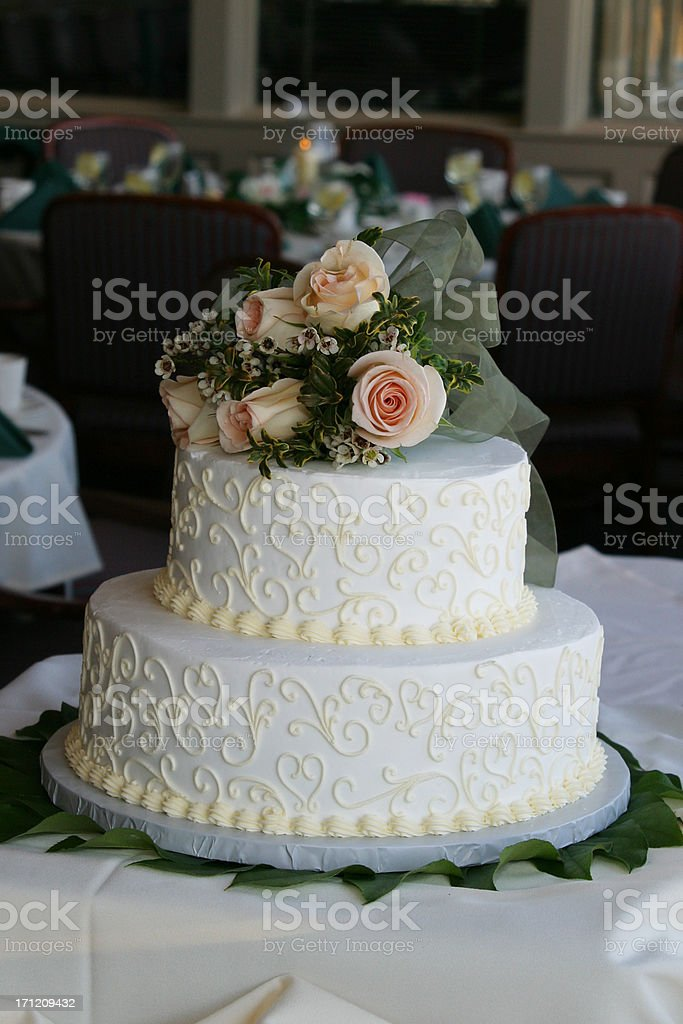 Wedding Cake with Roses royalty-free stock photo