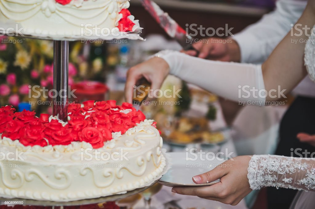 Wedding cake with swans of cream 5113. royalty-free stock photo