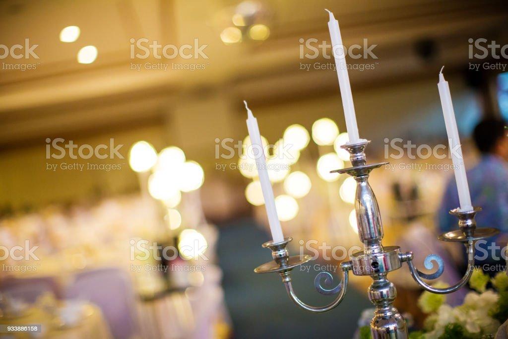Wedding Candle On Flower Near Wedding Cake Stock Photo & More ...