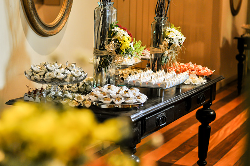 wedding candy table. delicious and assorted sweets. selective focus.